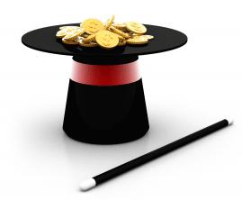 Sombrero de mago lleno de monedas