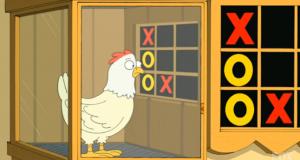 Imagen de pollo jugando al tic tac toe