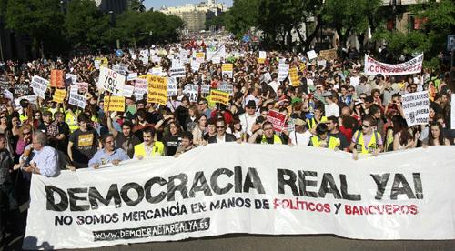 Imagen de manifestantes del movimiento 15-M (Democracia Real Ya)