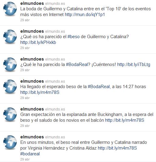 Imagen que muestra parte de la cronología del periódico español El Mundo el día 29 de abril de 2011