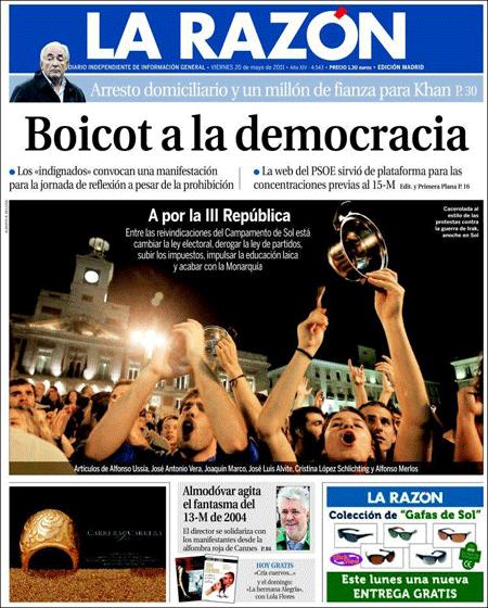 Portada del periódico La Razón (20-05-2011)