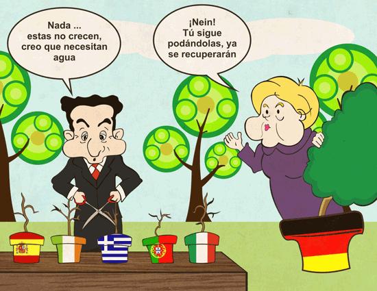 Viñeta de Merkel y Sarkozy como jardineros de la zona euro