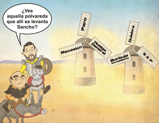 Viñeta de Rajoy y De Guindos como Quijote y Sancho