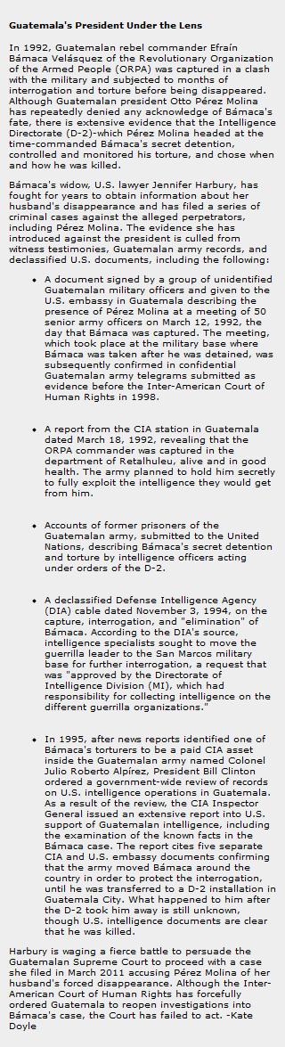 Guatemala's President Under the Lens