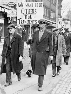 Imagen de protesta durante la Gran Depresión