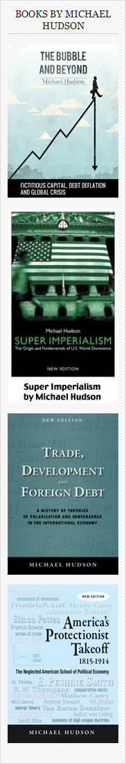 Banner for Michael Hudson's book covers