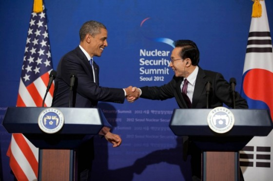 President Barack Obama and President Lee Myung-bak of the Republic of Korea