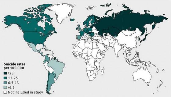Mapa con los 54 países analizados y su tasa de suicidios de 2009