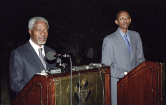 UN Secretary-General Kofi Annan with Rwandan President (former RPF leader) Paul Kagame