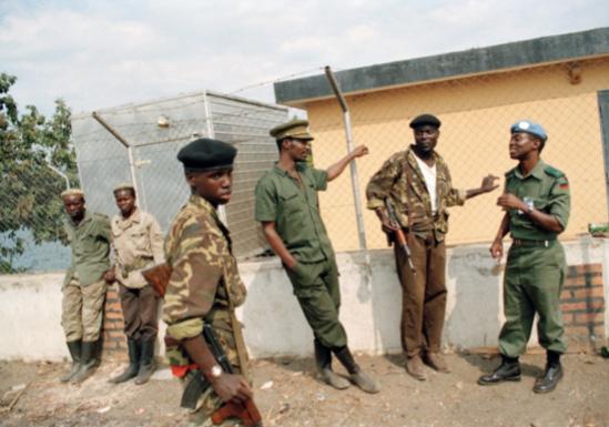 UNAMIR peacekeepers with soldiers of the Rwandan Patriotic Front
