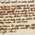 Fragmento del documento original conservado en los archivos del Vaticano y con el punto y coma destacado / Archivio Segreto Vaticano