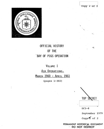 The cover of Volume I of the CIA's 1979 official history of the Bay of Pigs