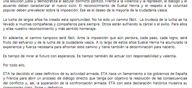 ETA anuncia «cese definitivo de su actividad armada»